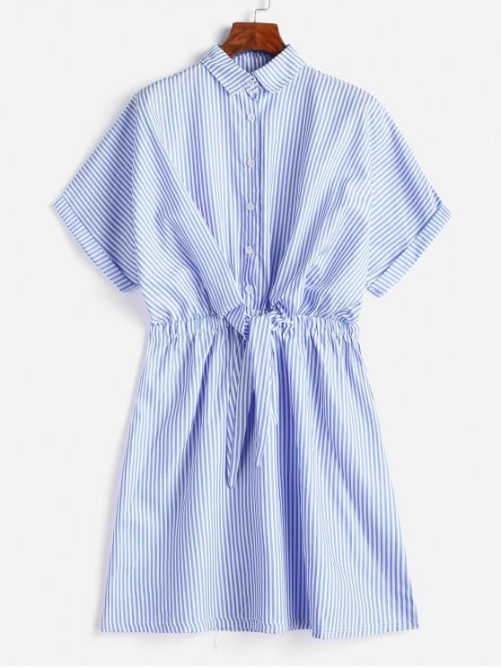 online Cuffed Sleeves Tie Front Striped Dress - LIGHT BLUE M