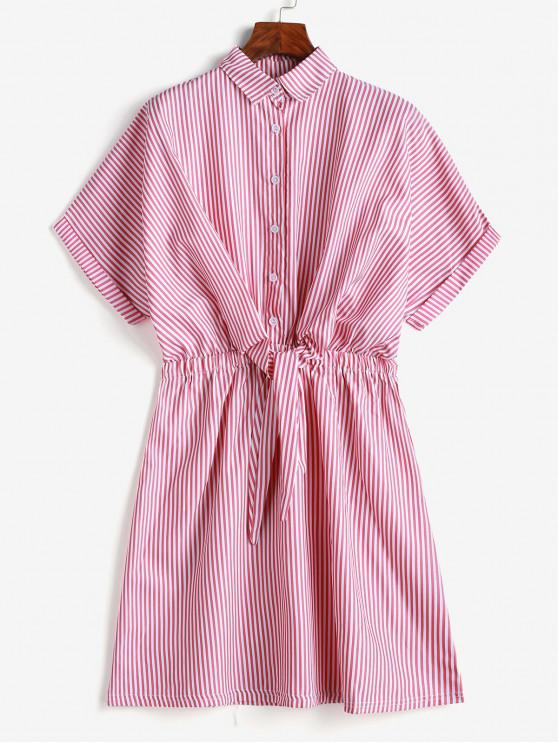 new Cuffed Sleeves Tie Front Striped Dress - PINK L