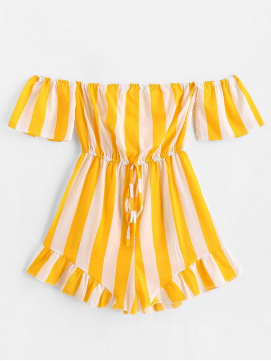 fancy Ruffled Hem Off Shoulder Stripes Romper - YELLOW XL