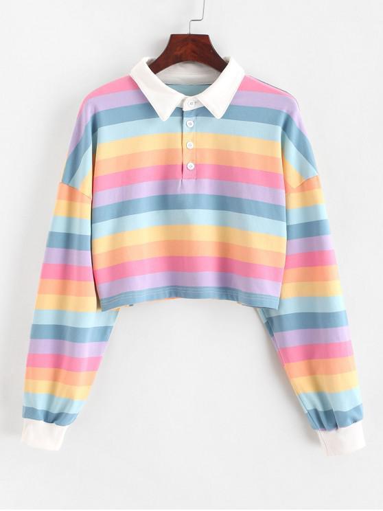 affordable Contrast Striped Rainbow Half Button Crop Sweatshirt - MULTI M