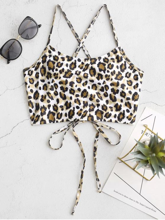 ladies ZAFUL Crisscross Lace-up Leopard Bikini Top - MULTI-A L