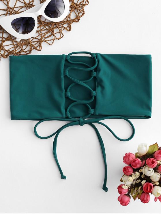 Top de bikini bandeau con cordones ZAFUL - Azul Eléctrico S
