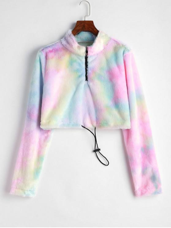 fancy ZAFUL Fluffy Faux Fur Half Zip Tie Dye Sweatshirt - MULTI L