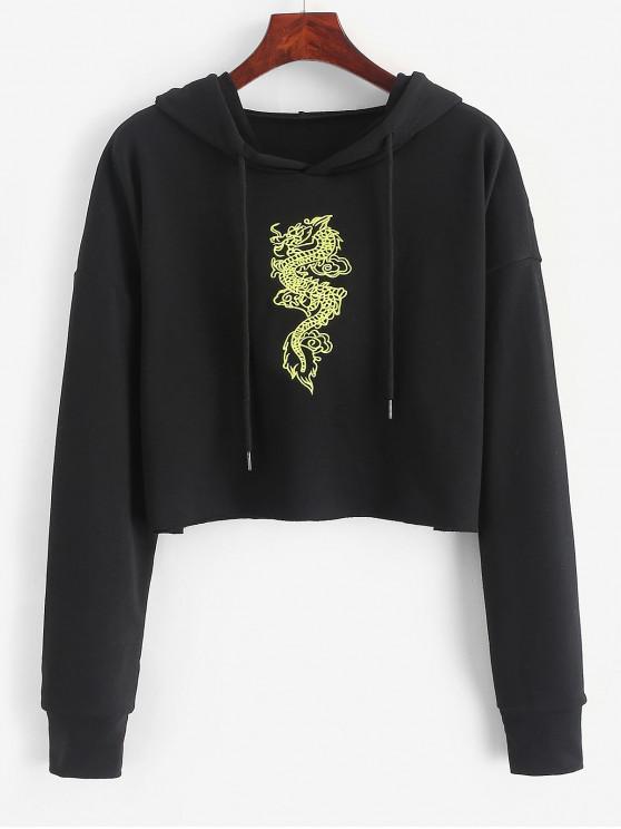 shop Dragon Embroidered Crop Drawstring Hoodie - BLACK L