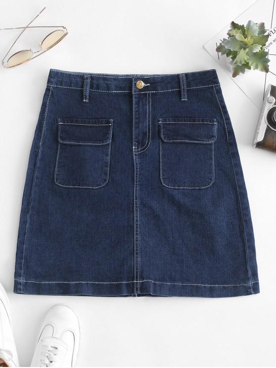 shop Top Stitching Pockets Chambray Skirt - DENIM DARK BLUE M