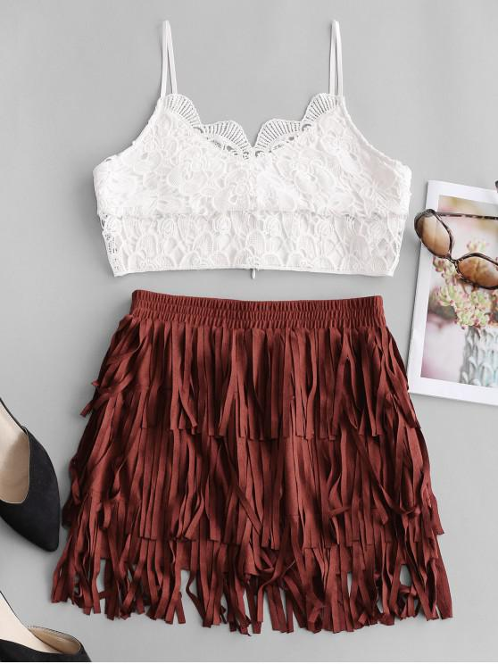 outfit ZAFUL Two Piece Elastic Waist Fringe Mini Skirt Set - MULTI-A M