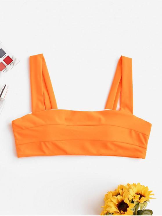 Top bikini neon con spalline larghe ZAFUL - Arancione Mango S