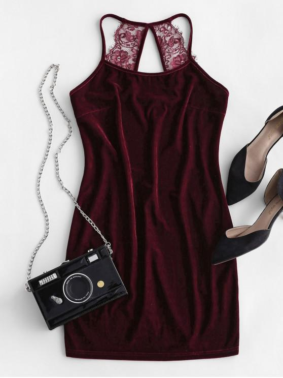 sale ZAFUL Velvet Lace Insert Cutout Bodycon Dress - RED WINE S