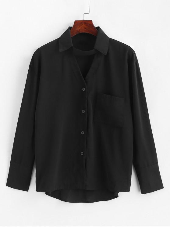Camisa gargantilla con bolsillo delantero - Negro  M