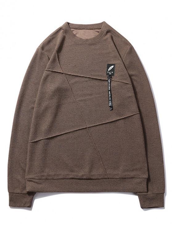 shops Letter Print Applique Splicing Casual Sweatshirt - COFFEE XS