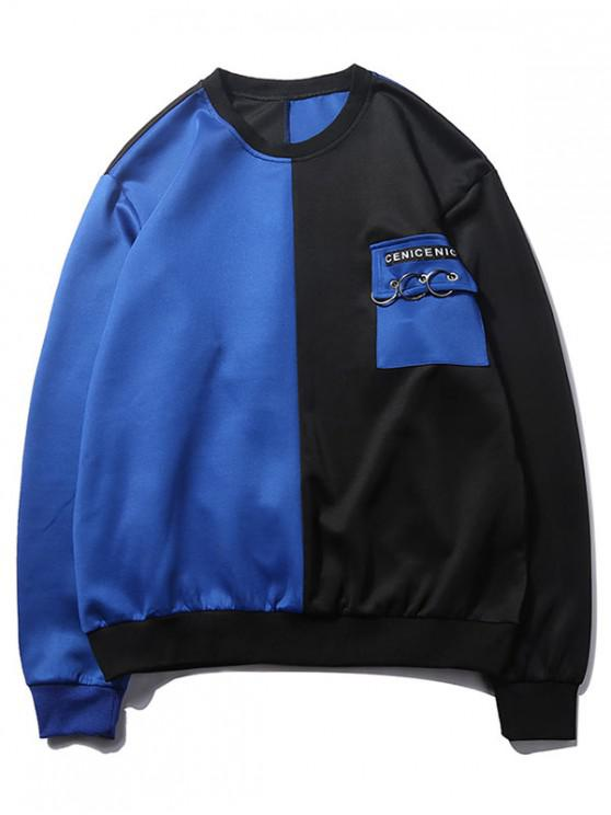affordable Two Tone Letter Print Ring Flap Chest Pocket Sweatshirt - BLUE M