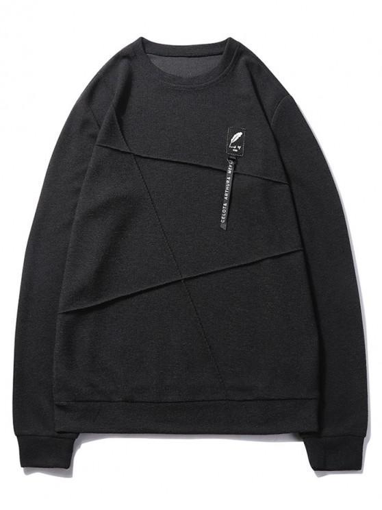 womens Letter Print Applique Splicing Casual Sweatshirt - BLACK M