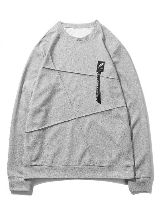best Letter Print Applique Splicing Casual Sweatshirt - GRAY GOOSE S