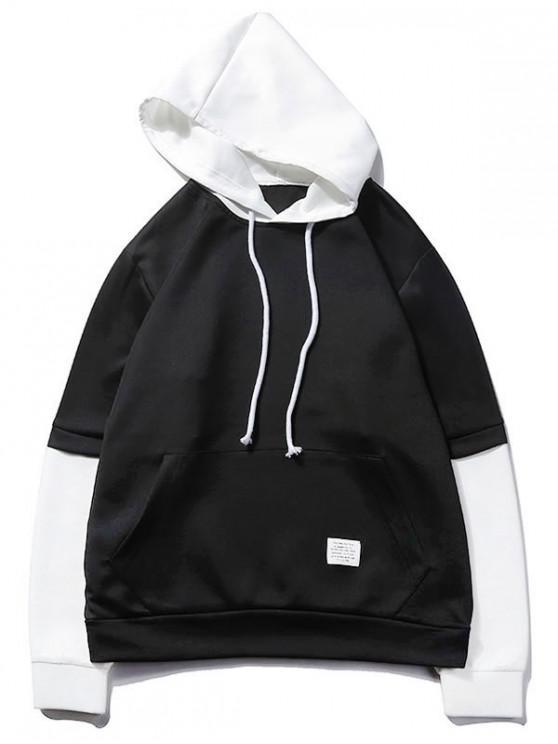 shops Color Block Spliced False Twinset Kangaroo Pocket Hoodie - BLACK S