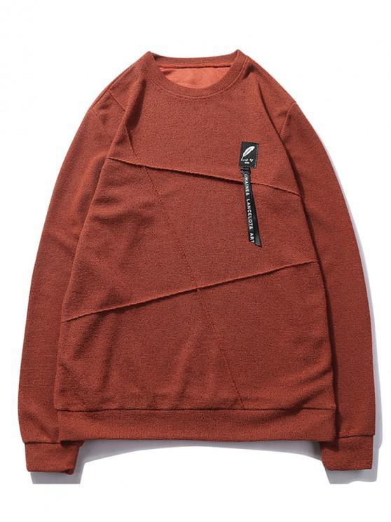 trendy Letter Print Applique Splicing Casual Sweatshirt - CHESTNUT RED XS