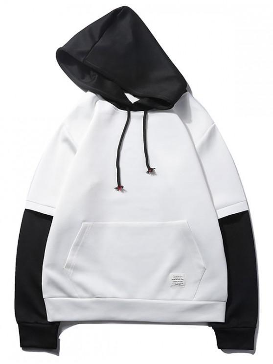 fashion Color Block Spliced False Twinset Kangaroo Pocket Hoodie - WHITE M