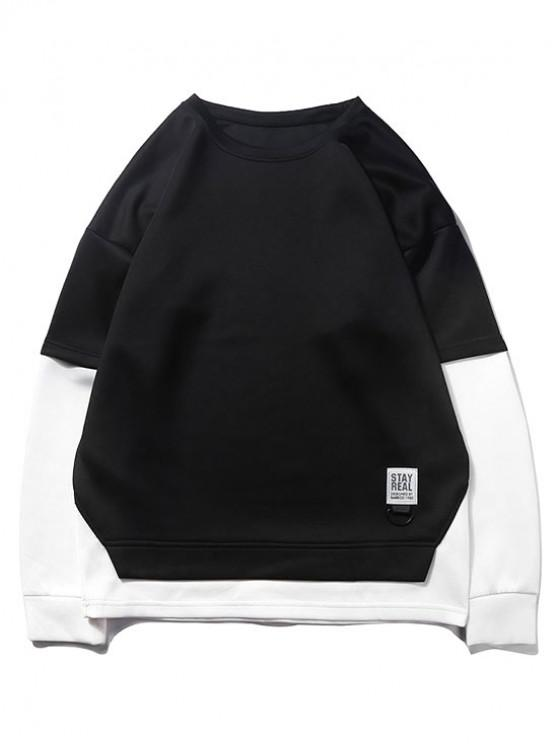 buy Color Blocking Spliced False Twinset Drop Shoulder Sweatshirt - BLACK S