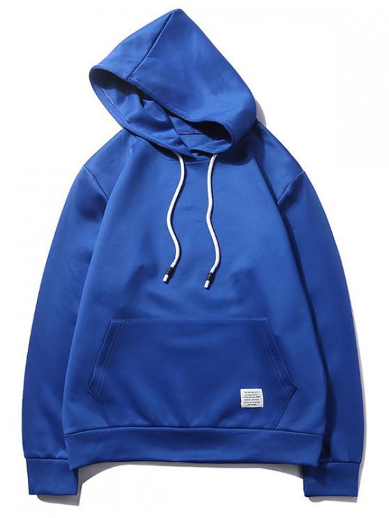 Sudadera casual con capucha y bolsillo de canguro de color sólido - Azul de Arándanos XS