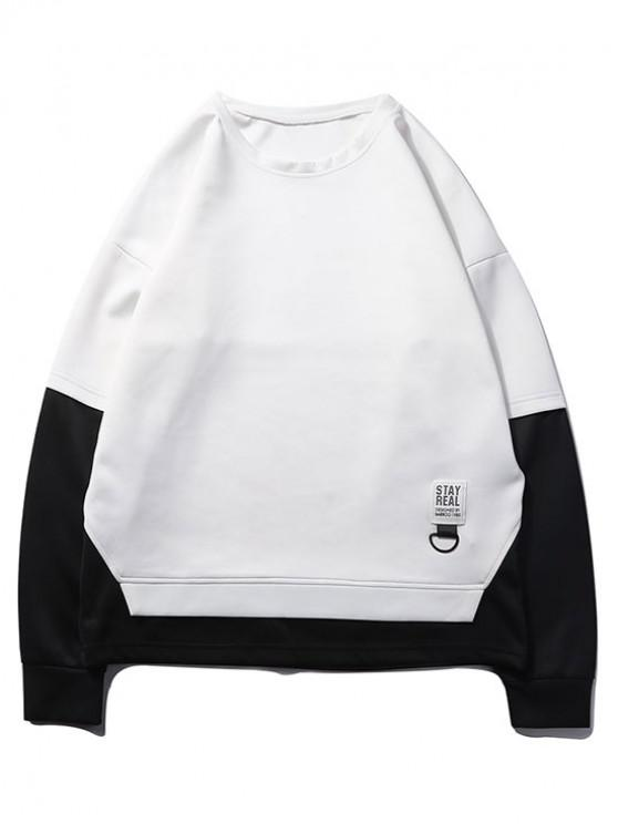 latest Color Blocking Spliced False Twinset Drop Shoulder Sweatshirt - WHITE S