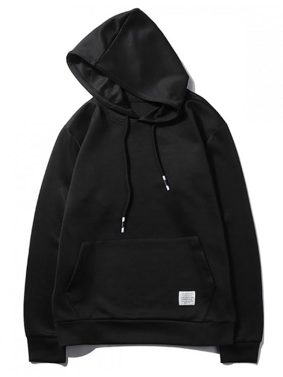 fashion Solid Color Kangaroo Pocket Pullover Casual Hoodie - BLACK S