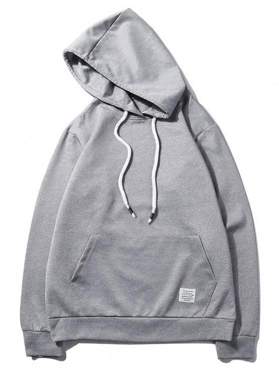 buy Solid Color Kangaroo Pocket Pullover Casual Hoodie - GRAY GOOSE XS