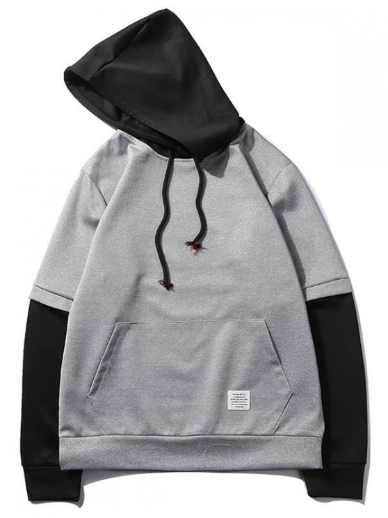 women's Color Block Spliced False Twinset Kangaroo Pocket Hoodie - GRAY GOOSE XS