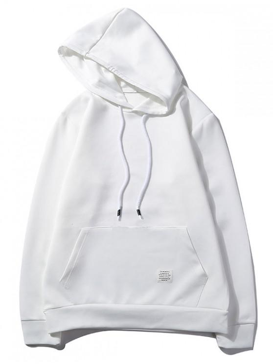 ladies Solid Color Kangaroo Pocket Pullover Casual Hoodie - WHITE S