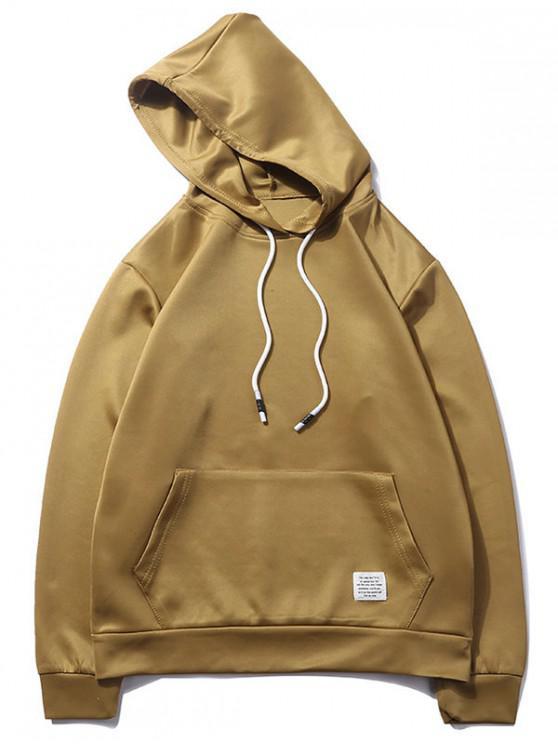 online Solid Color Kangaroo Pocket Pullover Casual Hoodie - CINNAMON M