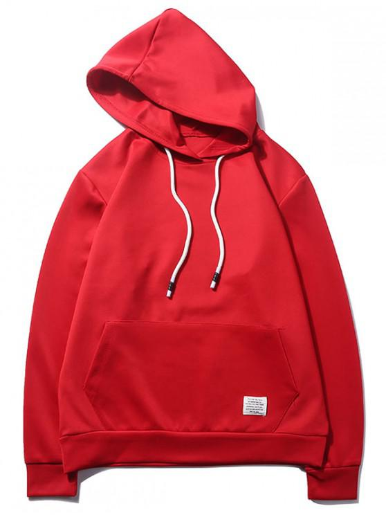 fashion Solid Color Kangaroo Pocket Pullover Casual Hoodie - LAVA RED S