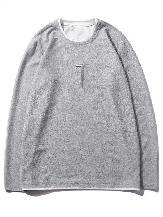 unique Solid Seven Embroidery Color Block Ringer Sweatshirt - GRAY GOOSE S