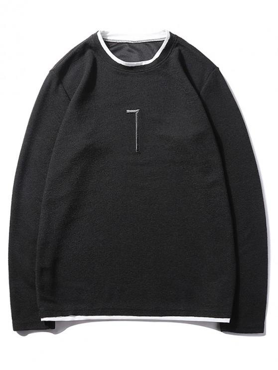 best Solid Seven Embroidery Color Block Ringer Sweatshirt - BLACK S