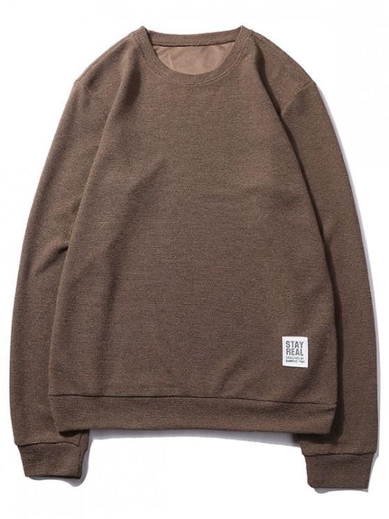 shop Letter Print Applique Solid Color Pullover Basic Sweatshirt - COFFEE S