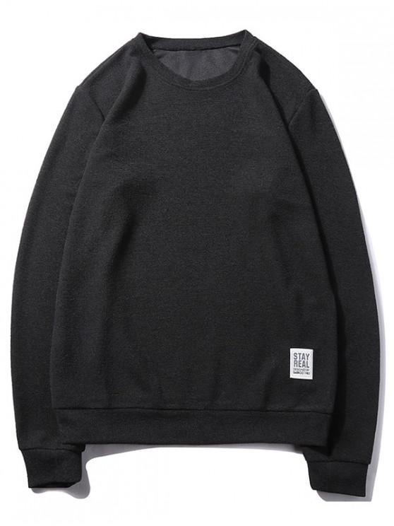 trendy Letter Print Applique Solid Color Pullover Basic Sweatshirt - BLACK S