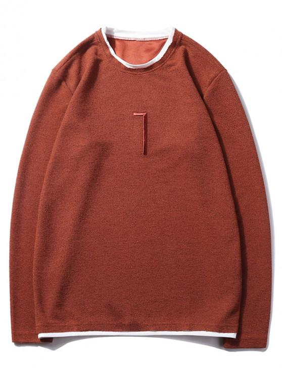 fancy Solid Seven Embroidery Color Block Ringer Sweatshirt - CHESTNUT RED XS