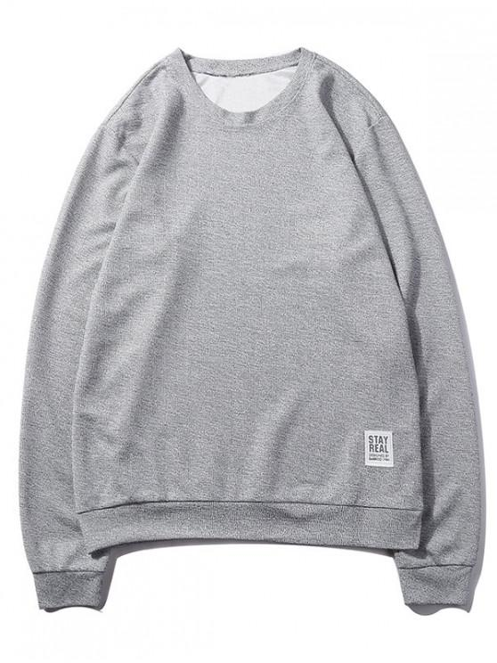 outfits Letter Print Applique Solid Color Pullover Basic Sweatshirt - GRAY GOOSE XS