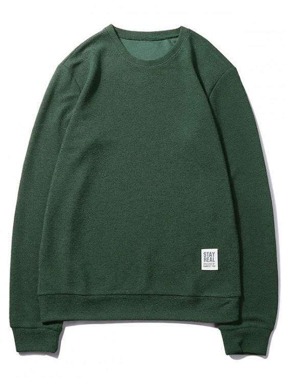 fancy Letter Print Applique Solid Color Pullover Basic Sweatshirt - DARK FOREST GREEN M
