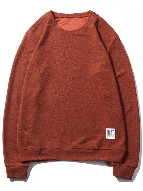 women Letter Print Applique Solid Color Pullover Basic Sweatshirt - CHERRY RED XS