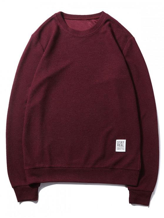 buy Letter Print Applique Solid Color Pullover Basic Sweatshirt - RED WINE XS