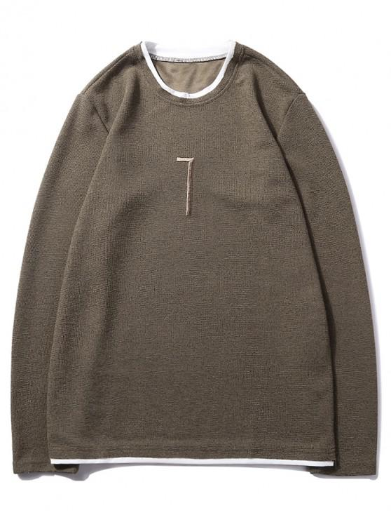 outfit Solid Seven Embroidery Color Block Ringer Sweatshirt - COFFEE S