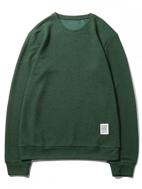 unique Letter Print Applique Solid Color Pullover Basic Sweatshirt - DARK FOREST GREEN XS