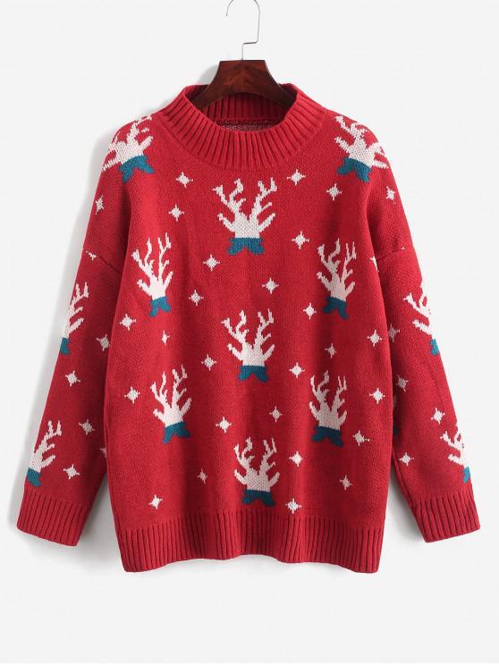 Suéter con cuello redondo y estampado navideño - Rojo Lava Talla única
