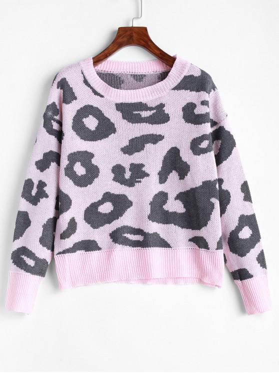 Suéter con hombros descubiertos y estampado de leopardo - Color de Melocotón Oscuro M