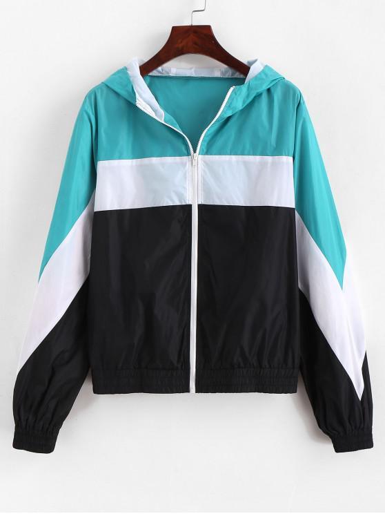 fancy ZAFUL Color Block Hooded Windbreaker Jacket - MULTI-A L