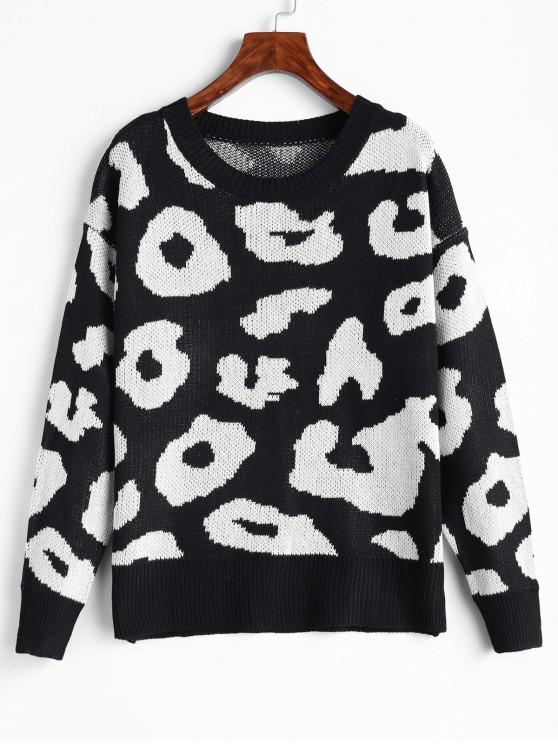 Suéter con hombros descubiertos y estampado de leopardo - Negro S