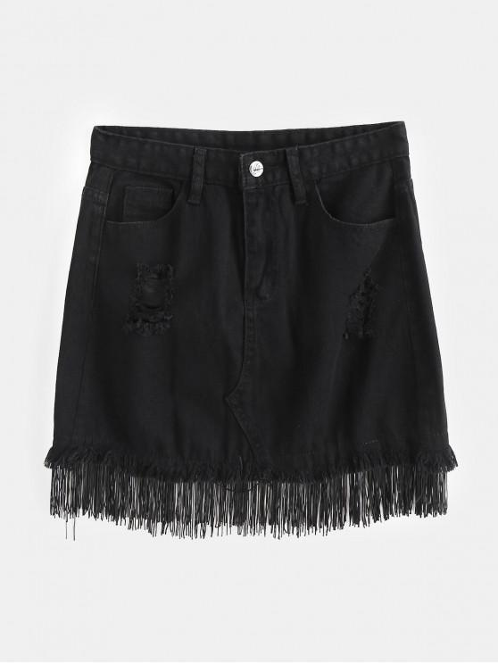 women's Fringed Distressed Denim Mini Skirt - BLACK S