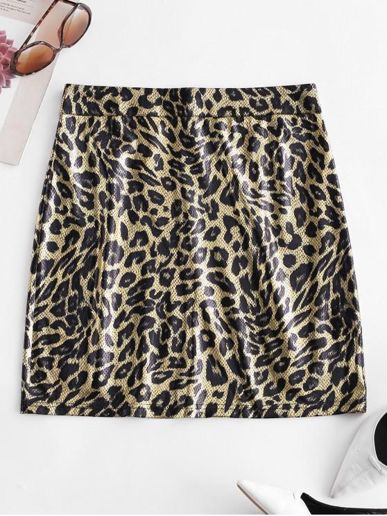 fancy ZAFUL Snakeskin Bodycon Mini Skirt - MULTI L
