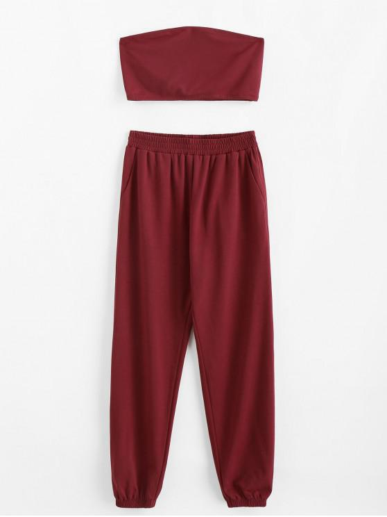 women ZAFUL Bandeau Pocket Two Piece Sweat Jogger Pants Set - RED WINE XL