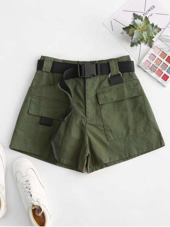 womens High Waisted D Ring Flap Pocket Shorts - GREEN S