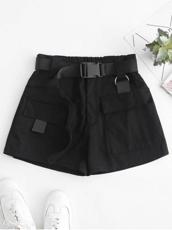 Hot Sale High Waisted D Ring Flap Pocket Shorts   Black S by Zaful