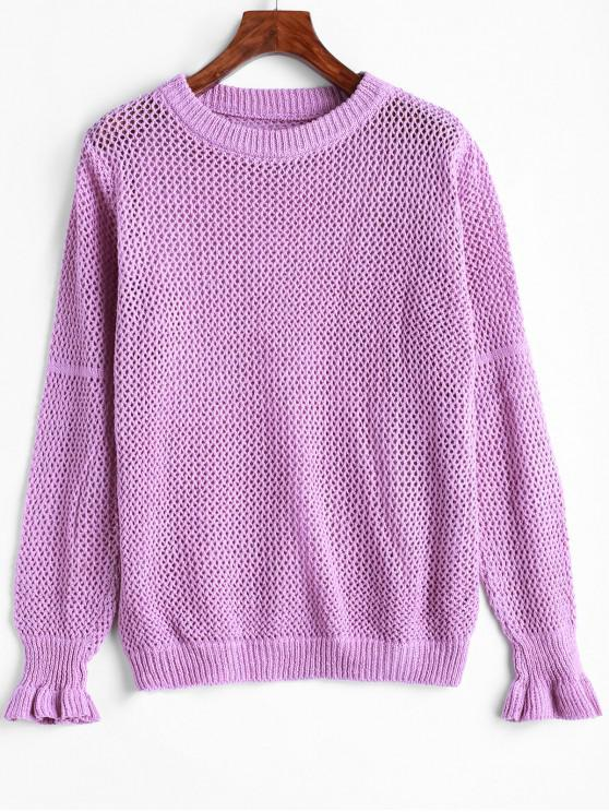 new Loose Knit Ruffle Hem Solid Sweater - PURPLE ONE SIZE